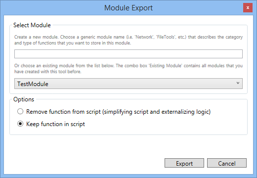 Export the function to an existing module.