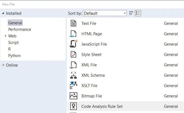 Visual Studio - create new ruleset