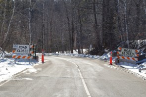 Minnesota State Highway 210 through Jay Cooke State Park in Duluth, Minn. The road still closed in March 2016 after the damage caused by the flood of June 2012.