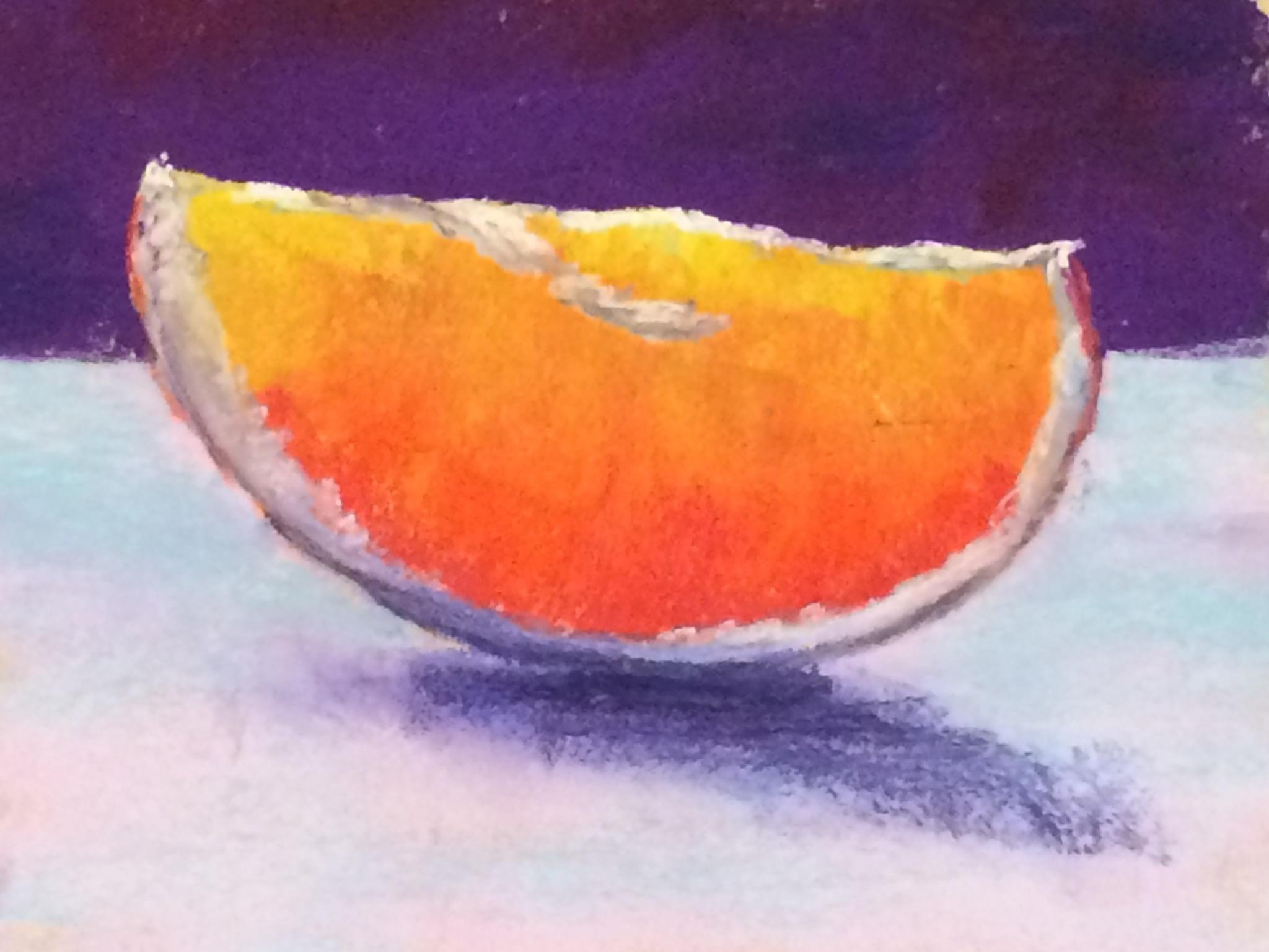 Orange Slice Pastel on sanded paper