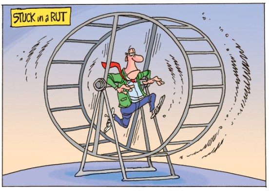 man on hamster wheel