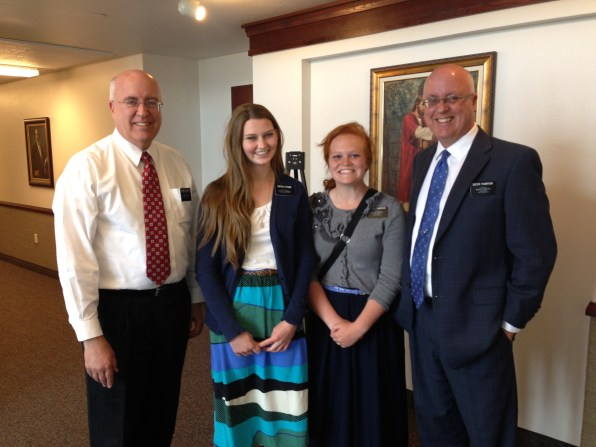 President Sweeney, Sister Lythgoe, Sister Thompson and Kurt Sweeney