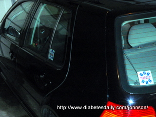 "Picture of my car with two ""Diabetic Driver"" stickers on it"