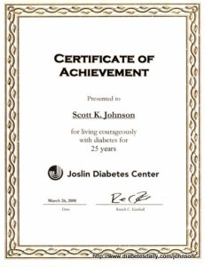 Picture of the Joslin Certificate of Achievement