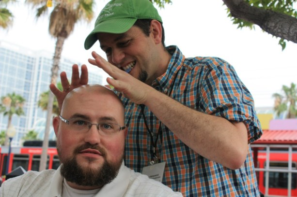 It's kind of weird having Manny rub my head looking for answers every time we see each other... (photo credit: Sara)