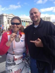 "Scott Johnson supports Danielle Panetta after her half marathon! Danielle tells Scott of her half marathon medal, ""You want this!"""