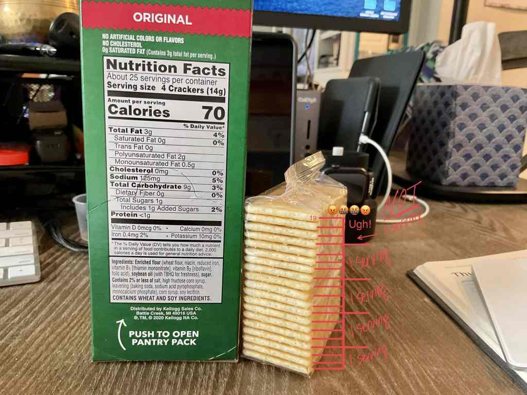 The Nutrition Facts label (1 serving = 4 crackers) next to a Snack Stack which contains 19 crackers (not evenly divisible by 4).