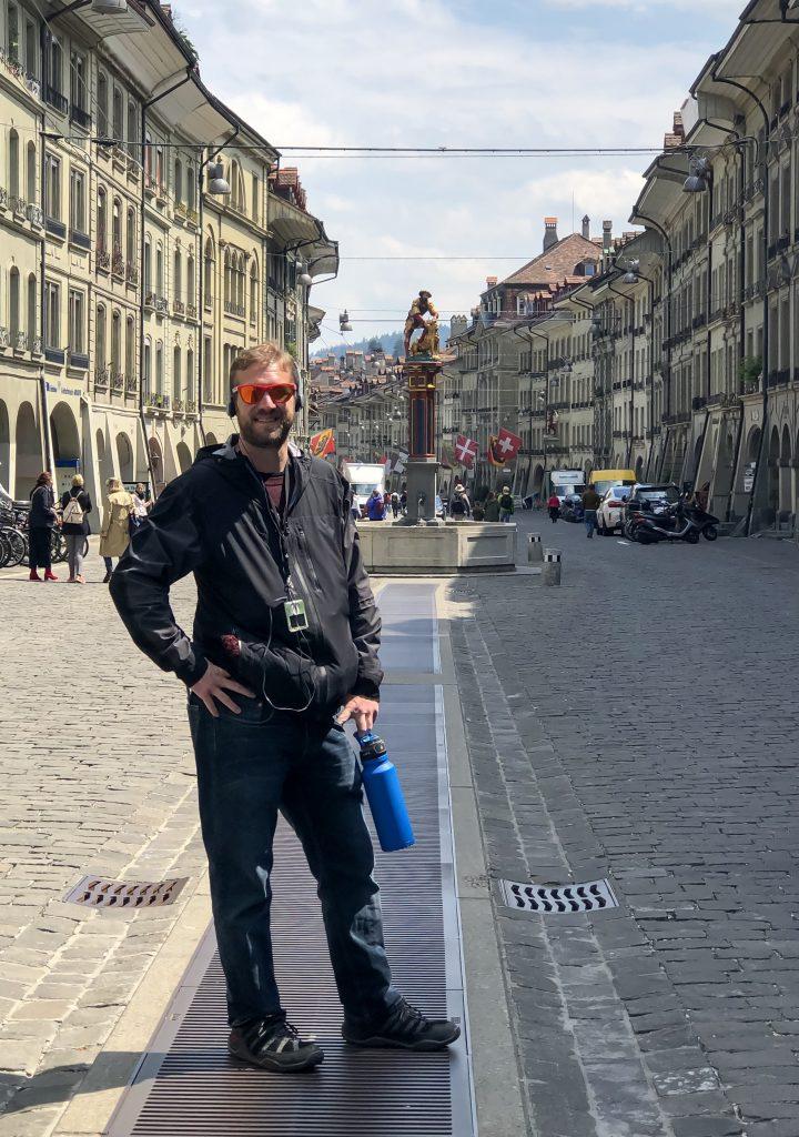 Me in Old Town Bern Taking iPod Walking Tour - Bern Switzerland
