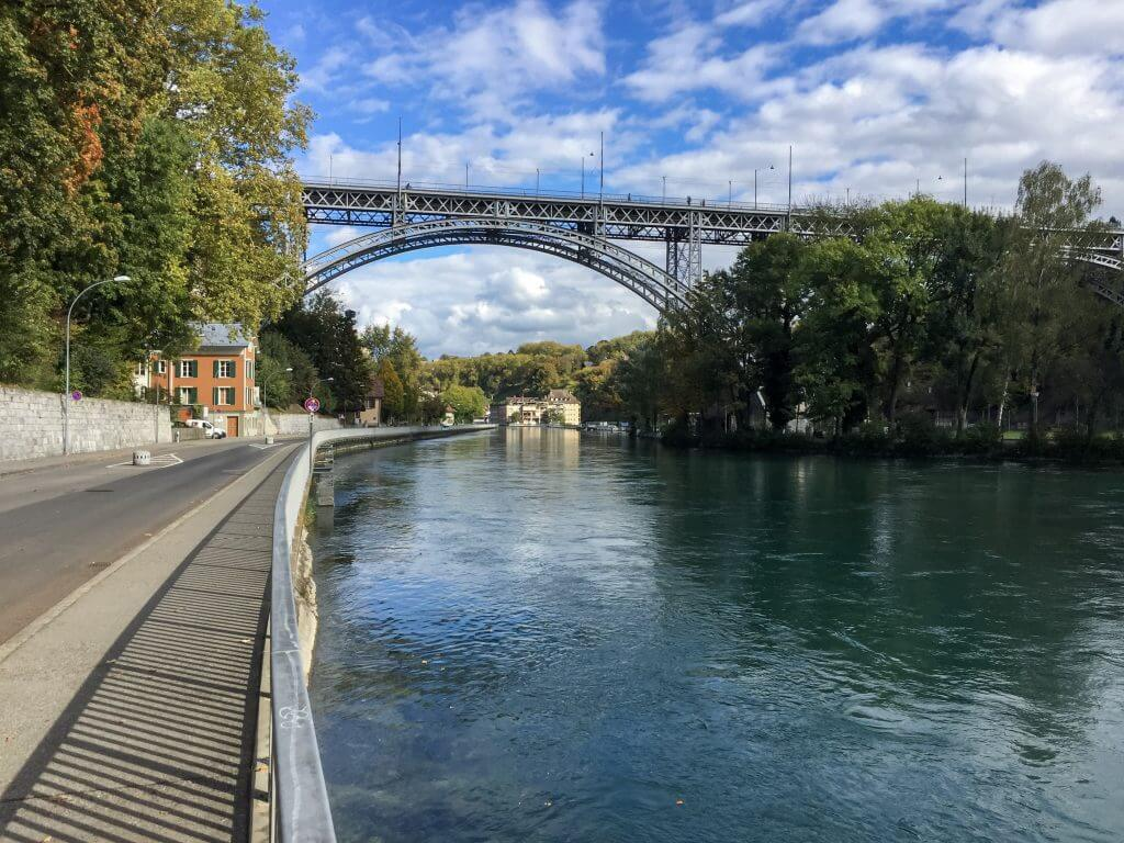 View of the Aare River and Kornhausbrücke in Bern Switzerland