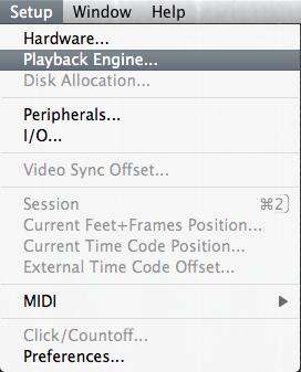 Playback Engine menu item