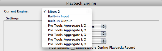 Select your current playback engine