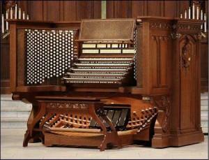 a pipe organ console