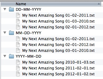 screen grab of how OS X sorts filenames with different date formats