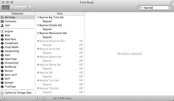 screen shot of Font Book OS X application