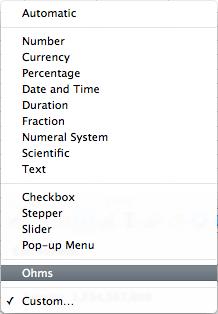 screen grab of Cell Format drop down menu