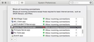 screenshot of firewall settings for various applications