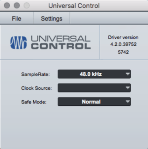 screenshot of original Universal Control software splash screen