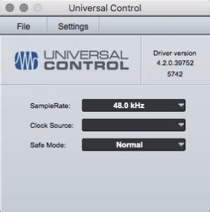 screenshot of original Universal Control software splash screen