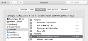 screenshot of Keyboard Shortcuts in System Preferences