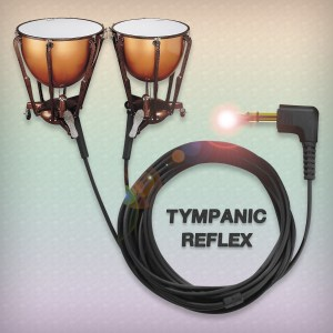 a visual pun - earbuds that are timpani drums