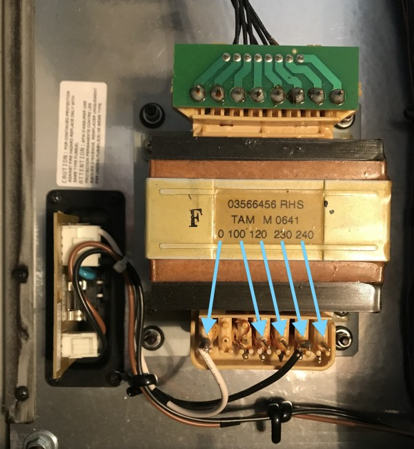 internal power transformer with voltage labels