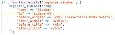 screenshot of functions.php code after