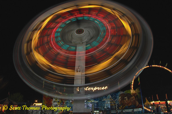 Long exposure photograph of the Midway Ride, Enterprise, at the New York State Fair, Syracuse, New York
