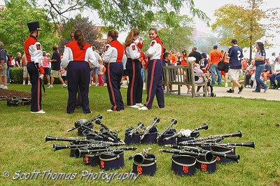 Syracuse University Marching Band Clarinetists wait for their time to perform.