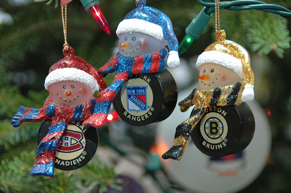 From left to right, Montreal Canadiens (my team), New York Rangers (my Dads team) and Boston Bruins (my Moms team).
