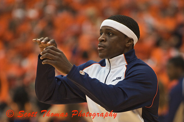 Jonny Flynn warming up before his nationally ranked Syracuse University Orange Mens Basketball team plays the Fighting Irish of Notre Dame in a Big East conference game on Saturday, January 17, 2008.  SU won the game 93-74 with Jonny Flynn contributing with 17 points and 9 assists.