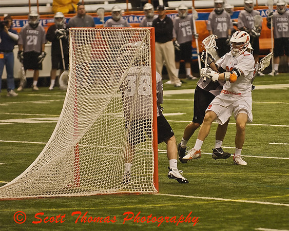 Greg Niewieroski of the Syracuse University Orange Mens Lacrosse team get ready to score a goal against Providence. Syracuse went on to post an easy win, 22-3.