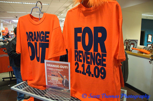 Special Orange Out T-shirts on sale in the Syracuse University Bookstore before the game.