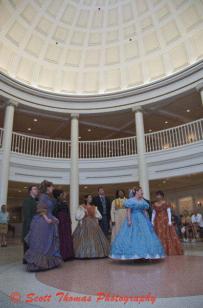 The Voices of Liberty performs inside the American Adventure pavilion about 15 minutes before the show in Epcots World Showcase.