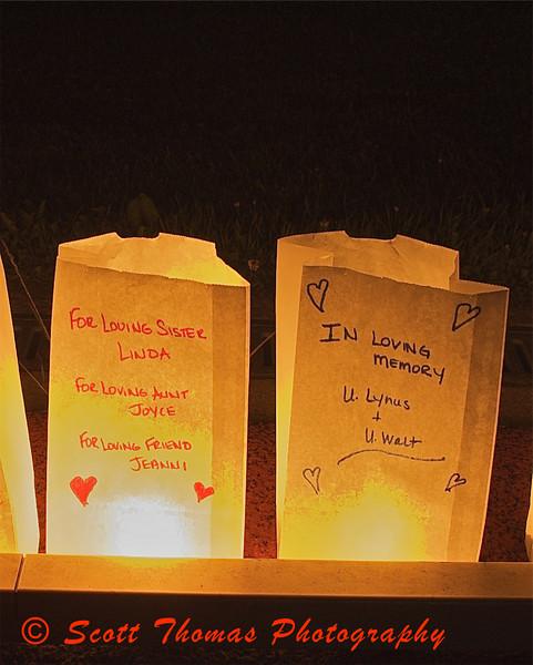 Family Luminaries in tribute.