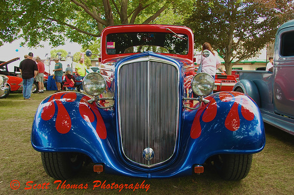 Chromed grills and engine bays cause havac with my cameras meter but I still cant resist them.  Click on photo to see entire hot rod.