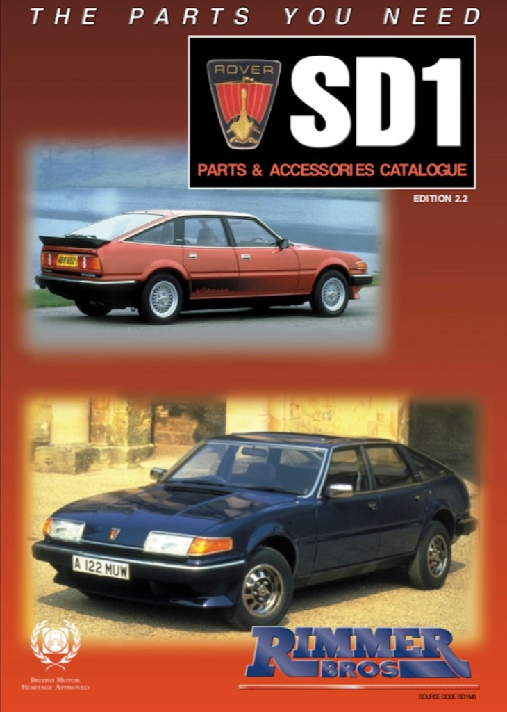 ROVER SD1 PARTS GUIDE RIMMER in SCOTTYS Supplier Library PIC2