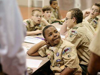 Boy Scouts learning