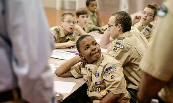 Boy Scouts learning