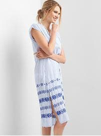 Stripe embroidery caftan - blue & white stripe