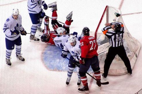 NHL Referee Tim Peel waves off goal