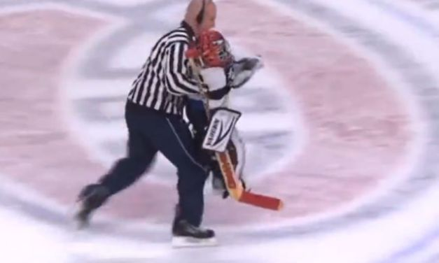 Good Guy Ref Delivers Goalie to Crease