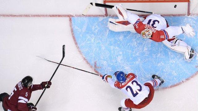 Latvian Goal a Near-Miss vs. Czechs