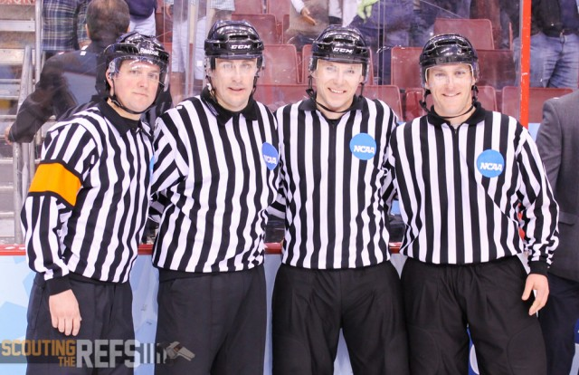 The 2014 Frozen Four National Championship Officials: Ryan Hersey, Bob Bernard, Geoff Miller, Tommy George
