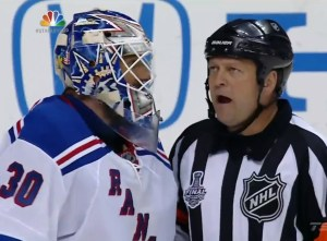 Rangers' Lundqvist talk to referee Dan O'Halloran
