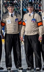 Referees Stephen Thomson (L) and Stephen Reneau (R), at the first USHL outdoor game on Feb. 9, 2013