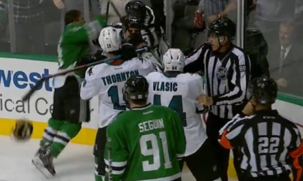 Stars' Roussel Fined For Punch on Sharks' Braun