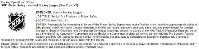 NHL SVP of Player Safety