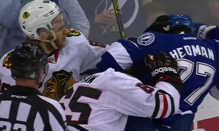 Did Blackhawks' Shaw Bite Bolts' Hedman?
