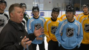 Al Kimmel addresses the officials at the NHL 2015 Amateur Exposure Combine
