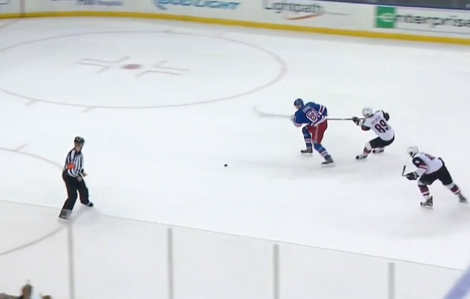 Rangers' Nash Awarded Goal After Drawing Empty Net Penalty